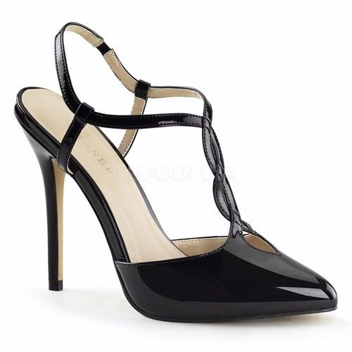 Discontinued PLEASER Amuse-16 Sexy Black Patent Work Dress Formal T-Strap Heels - A Shoe Addiction