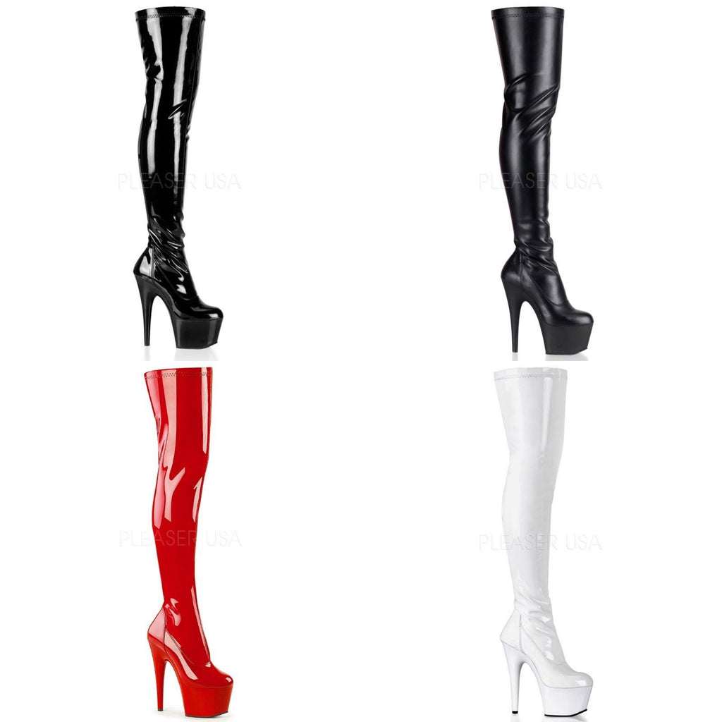 PLEASER Adore-3000 Black Red White Exotic Sexy Club Fetish Platform Thigh Boots - A Shoe Addiction