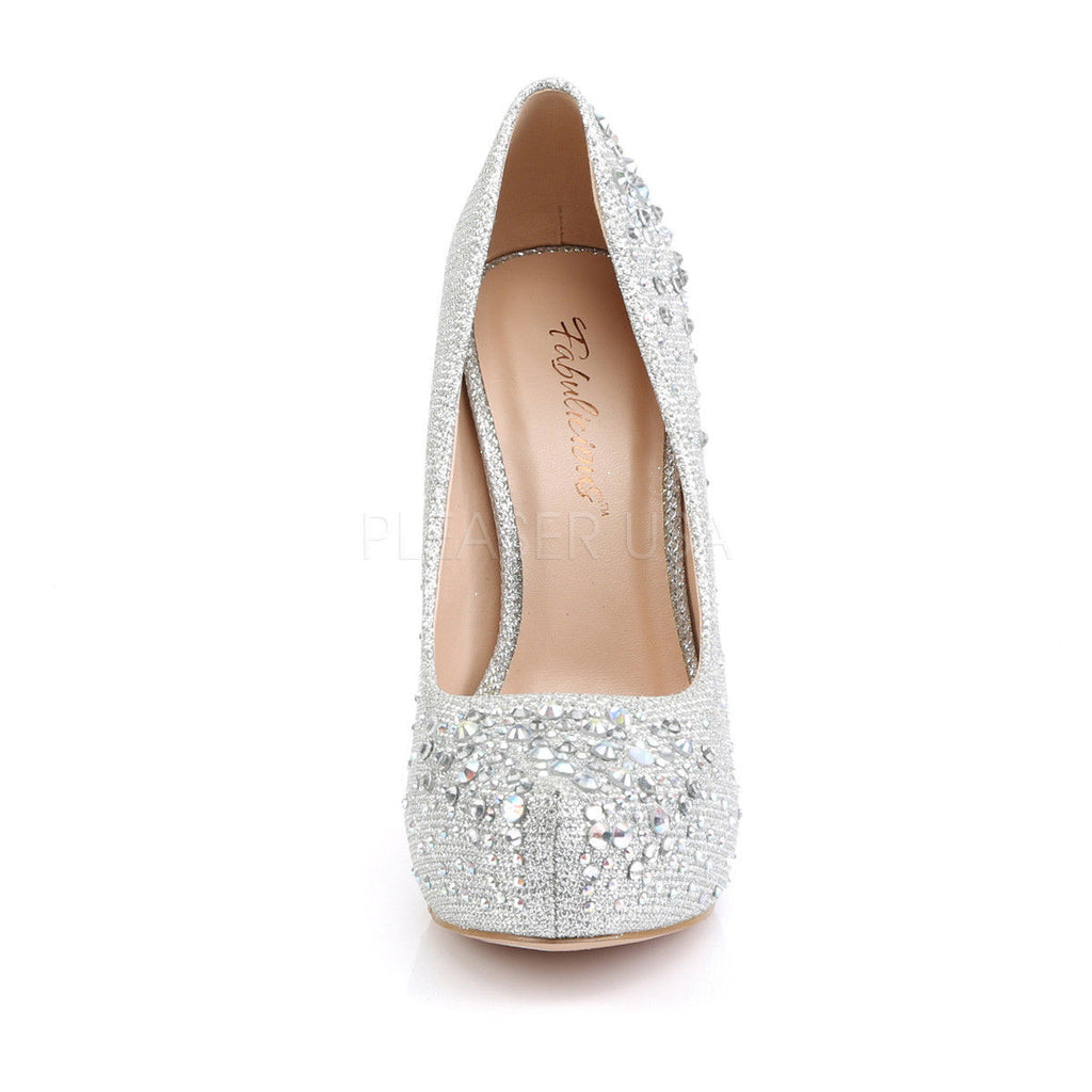 FABULICIOUS Destiny-06R Nude Silver Glitter Mesh Fabric Wedding Formal Heel Pump