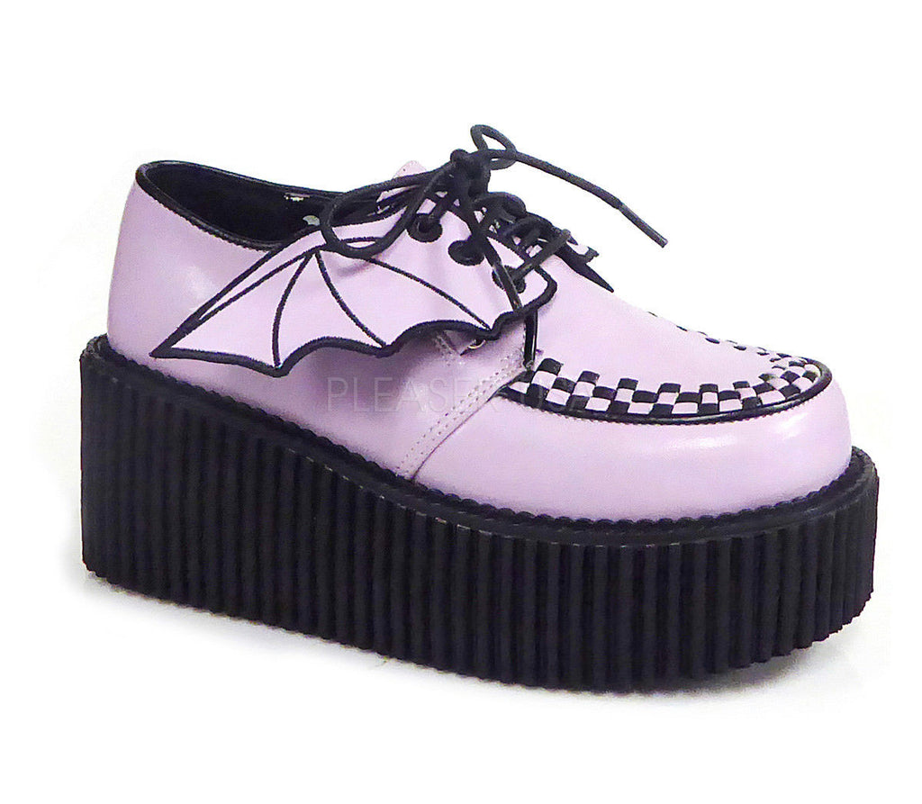 "DEMONIA Creeper-205 Detachable Bat Wings Goth Alternative 3"" Platform Flat Heels - A Shoe Addiction"