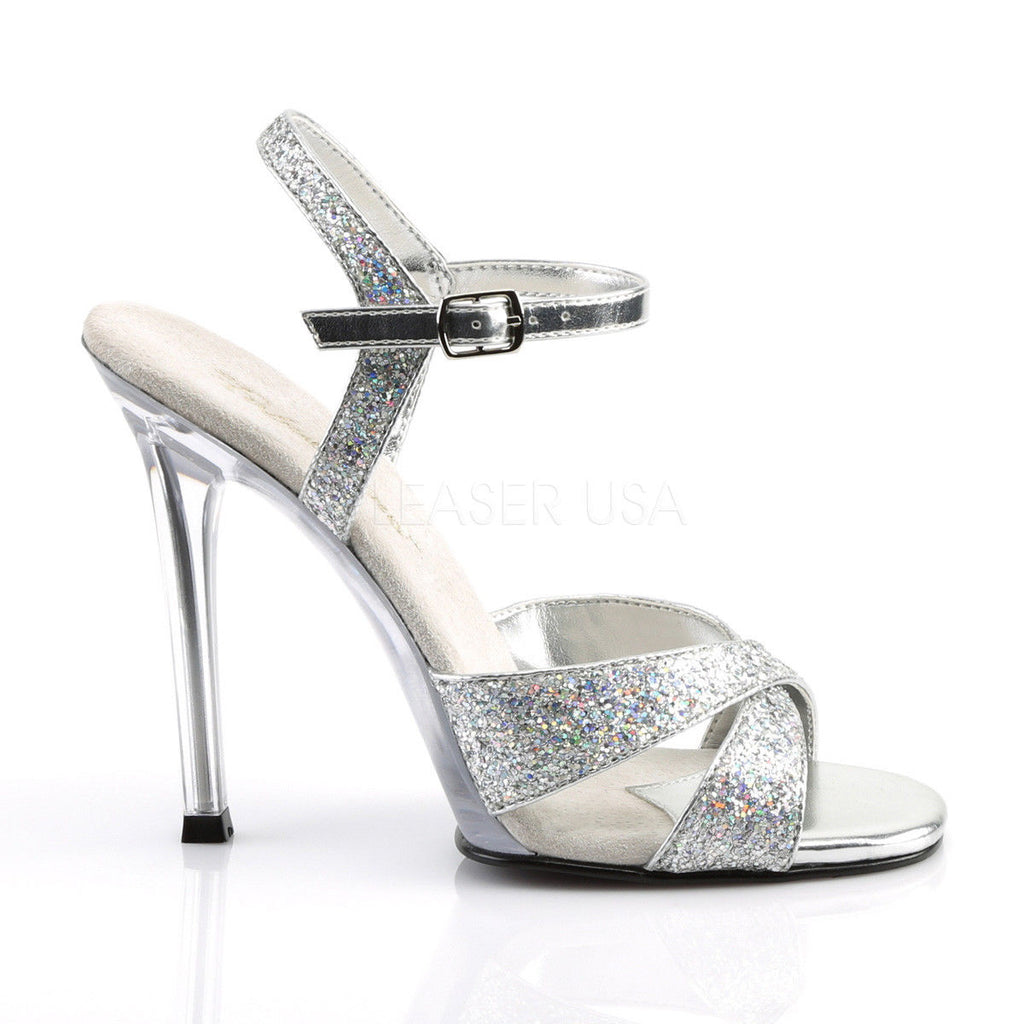 "FABULICIOUS Gala-19 Silver Multi Glitter Dress Formal Party Wedding 4.5"" Heel"