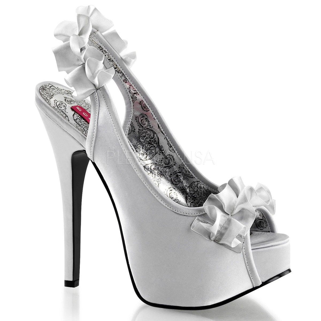 Discontinued BORDELLO Teeze-56 Satin Wedding Dress Ruffle Slingbacks Peep Heels - A Shoe Addiction