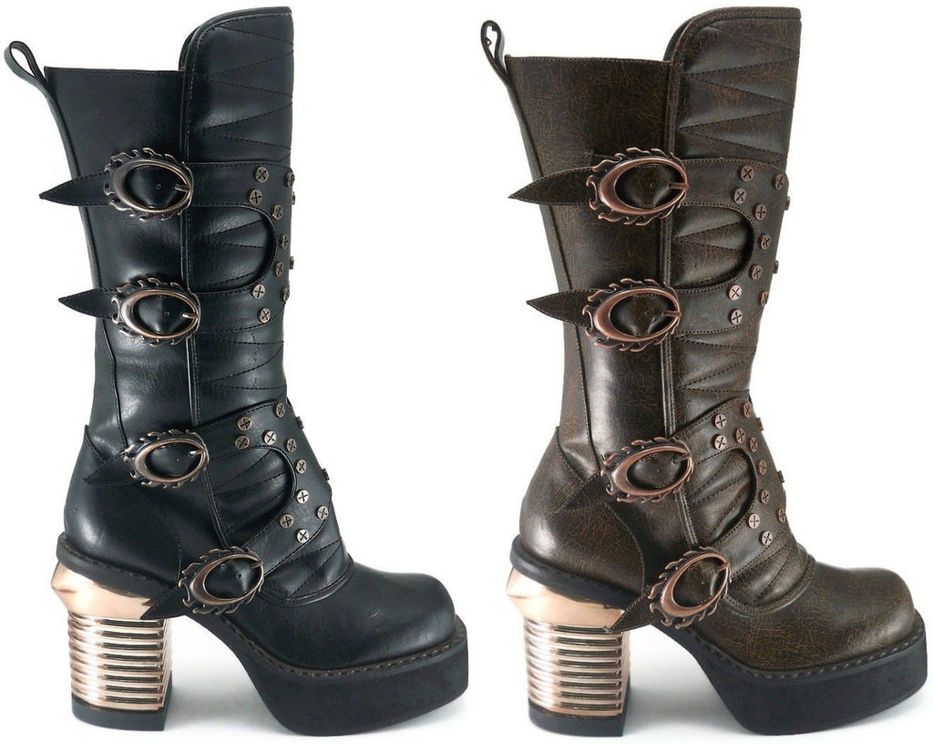HADES HARAJUKU Brown Black Flame Buckles Steampunk Sky Captain Gothic Knee Boots
