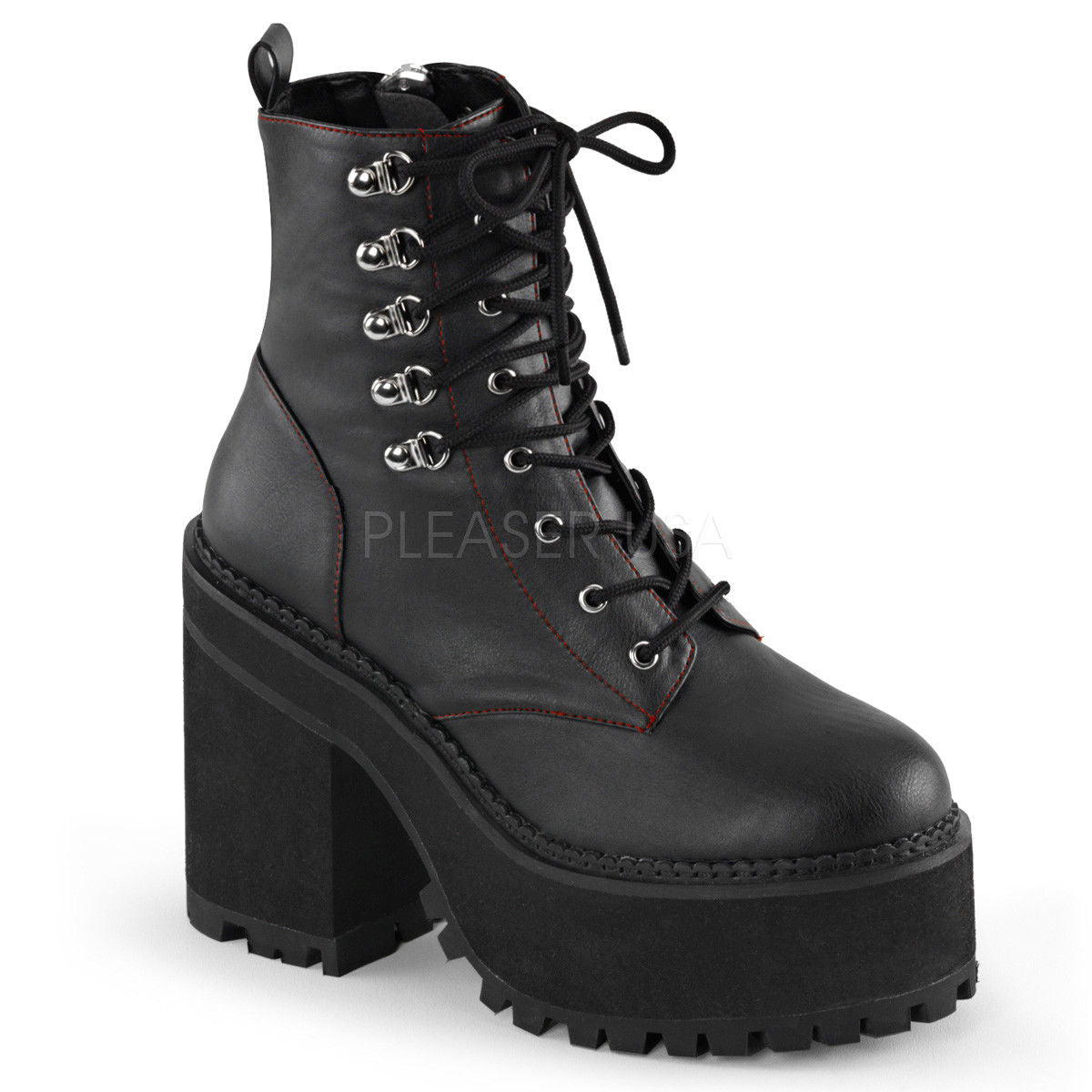 98791ad7c30f DEMONIA Assault-100 Women s Black Goth Studded Buckles Combat Platforms  Boots - A Shoe Addiction