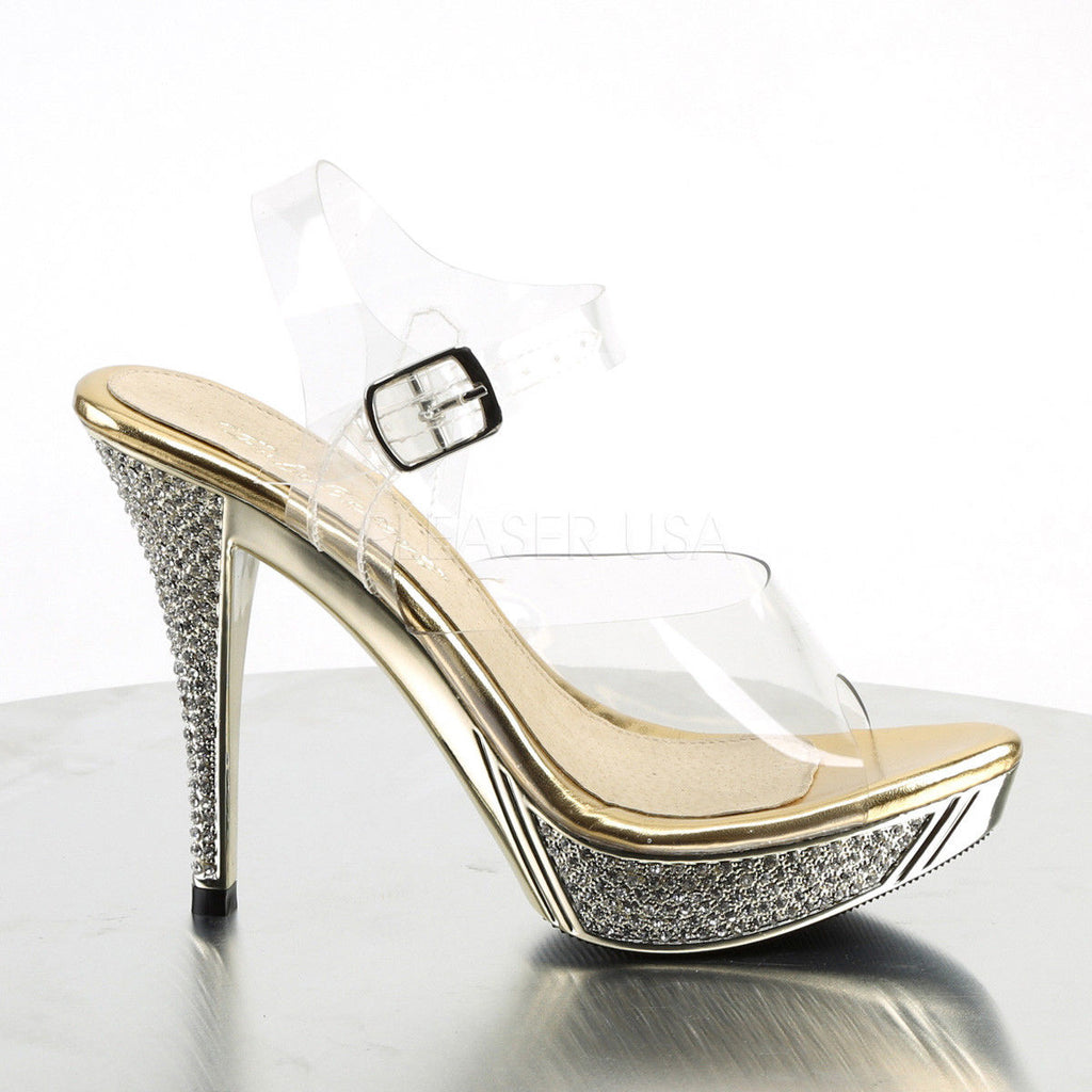FABULICIOUS Elegant-408 Gold Silver Rhinestone Fitness Model Comp Wedding Heels
