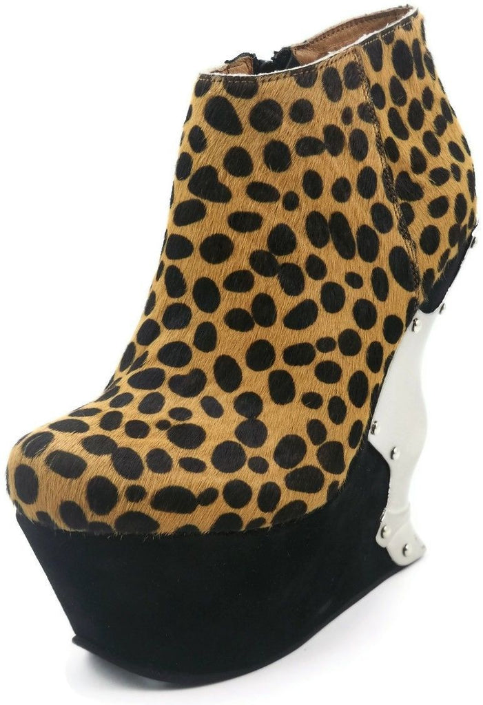 HADES PANTERA Leopard Print Chrome Metal Gothic Punk Alternative Wedges Boots