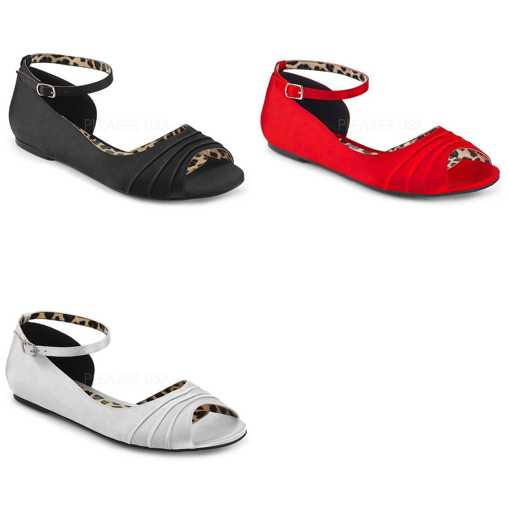 Discontinued PLEASER PINK LABEL Anna-03 Red Black Silver Satin Flats Drag 8-15 - A Shoe Addiction