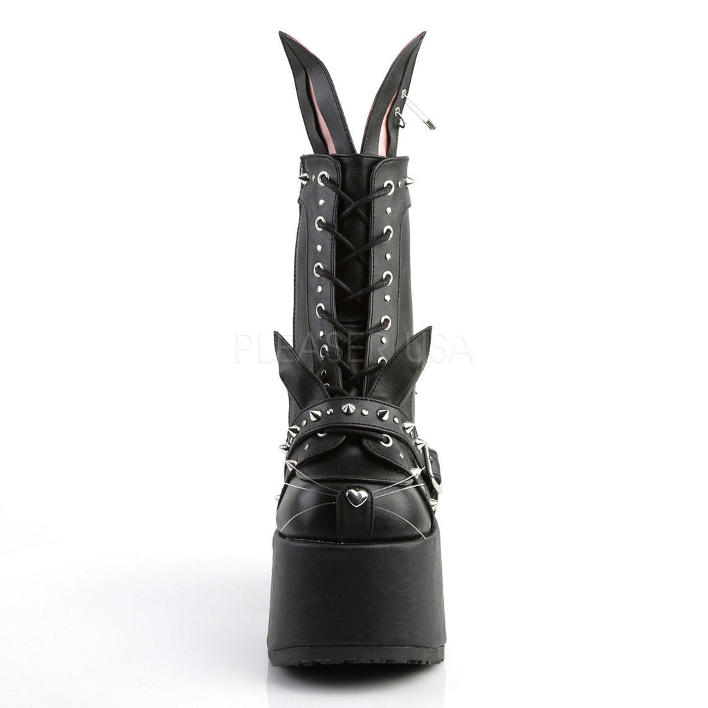 DEMONIA Camel-202 Interchangeable Cat / Bunny Ears Goth Platforms Ankle Boots - A Shoe Addiction