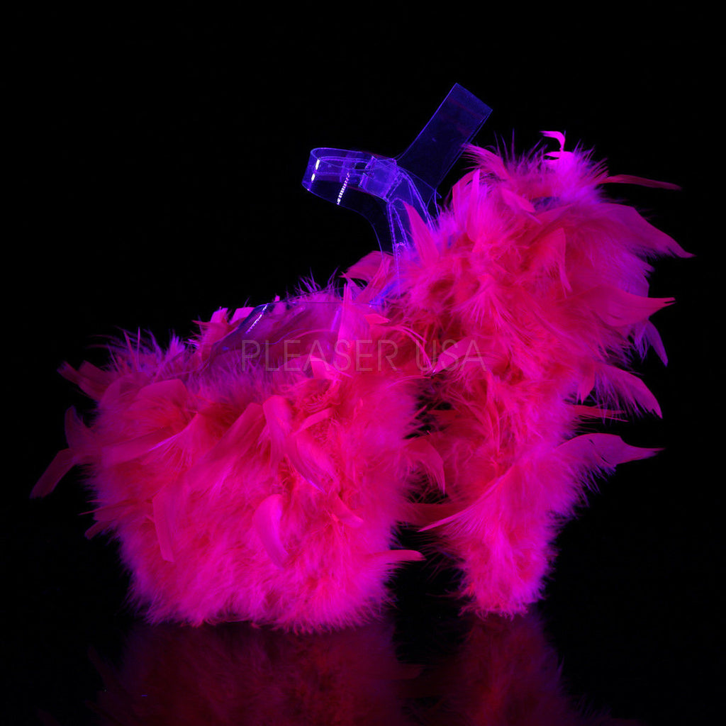 "Discontinued PLEASER Flamingo-808F Marabou Feathers Blacklight Reactive Stripper Club 8"" Heel - A Shoe Addiction"