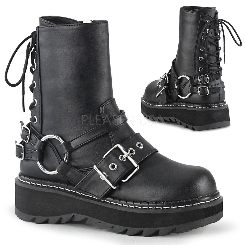 DEMONIA Lilith-210 Black Rear Lace Up Oxford White Stitching Goth Biker Boots - A Shoe Addiction