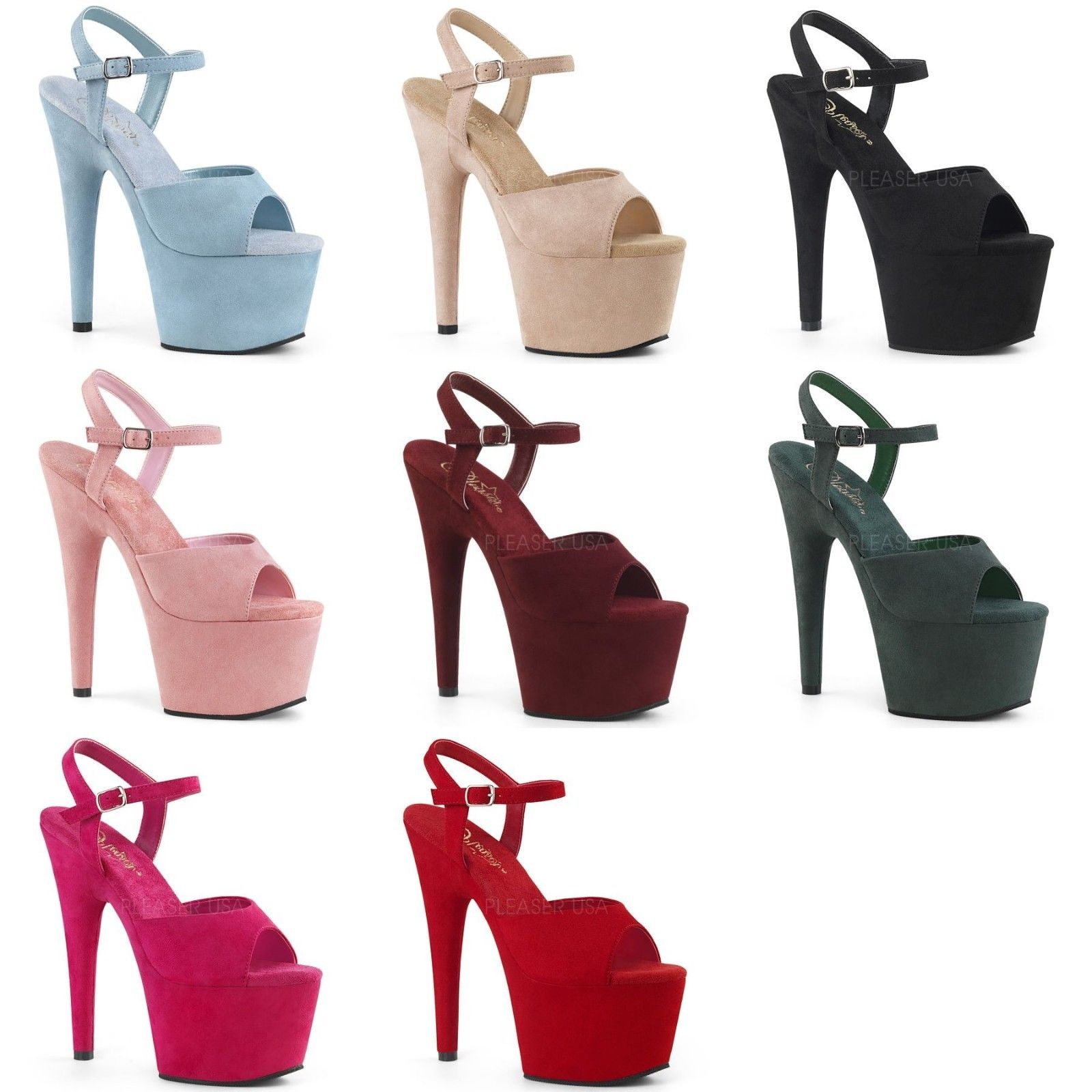 2d02f1c5758 PLEASER Adore-709FS Pink Red Blue Green Beige Faux Suede 7