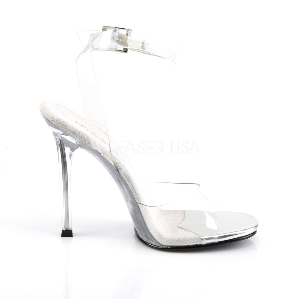 "FABULICIOUS Gala-06 Clear Ankle Strap Fitness Bikini Model Comp Dress 4.5"" Heel"