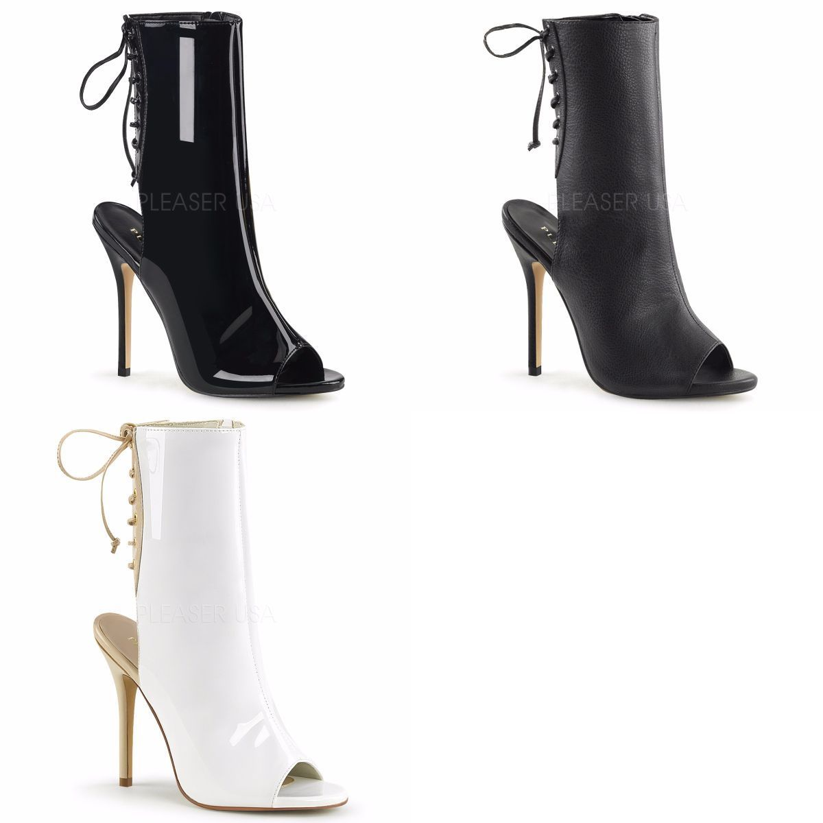 Open Heel Ankle Pleaser Amuse Discontinued Toe Lace Back Boots Up 1018 LUjGpqSzMV