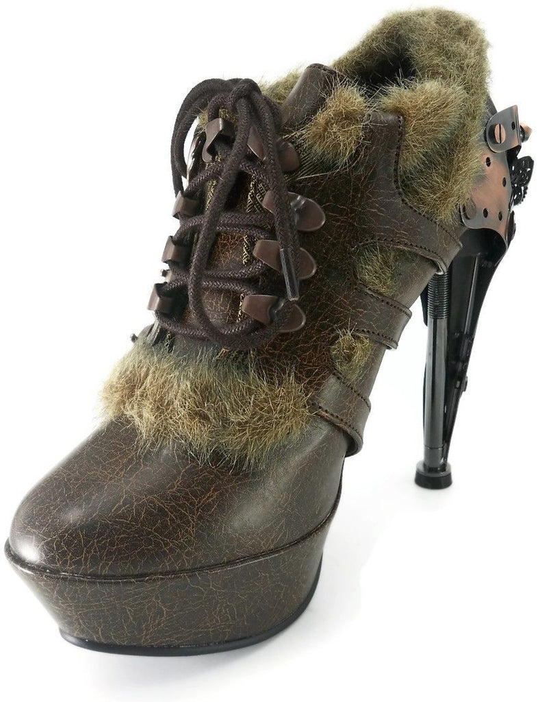 HADES MORGANA Black Brown Faux Fur Steampunk Goth Butterfly Gears Boots Heels