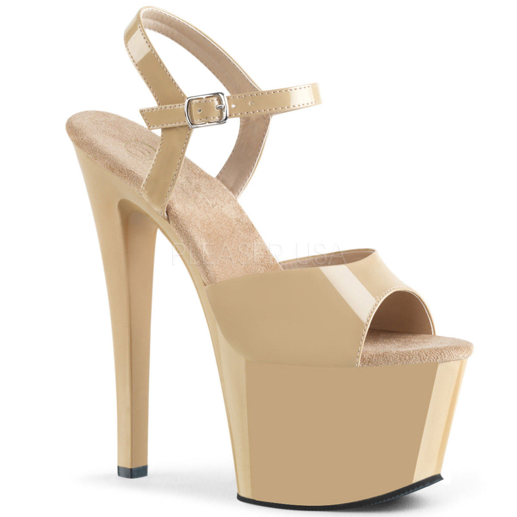 "PLEASER Sky-309 Cream Beige Red White Black Dancer Ankle Strap Platform 7"" Heels - A Shoe Addiction"