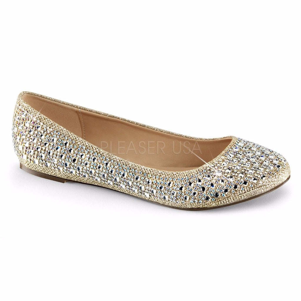 FABULICIOUS Treat-06 Black Gold Nude Silver Rhinestone Glitter Mesh Fabric Flats - A Shoe Addiction