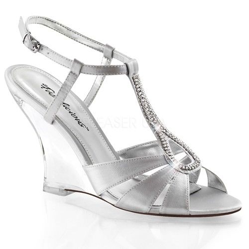 Discontinued FABULICIOUS Lovely-420 Rhinestone Dress Formal Wedges Sandals Heels