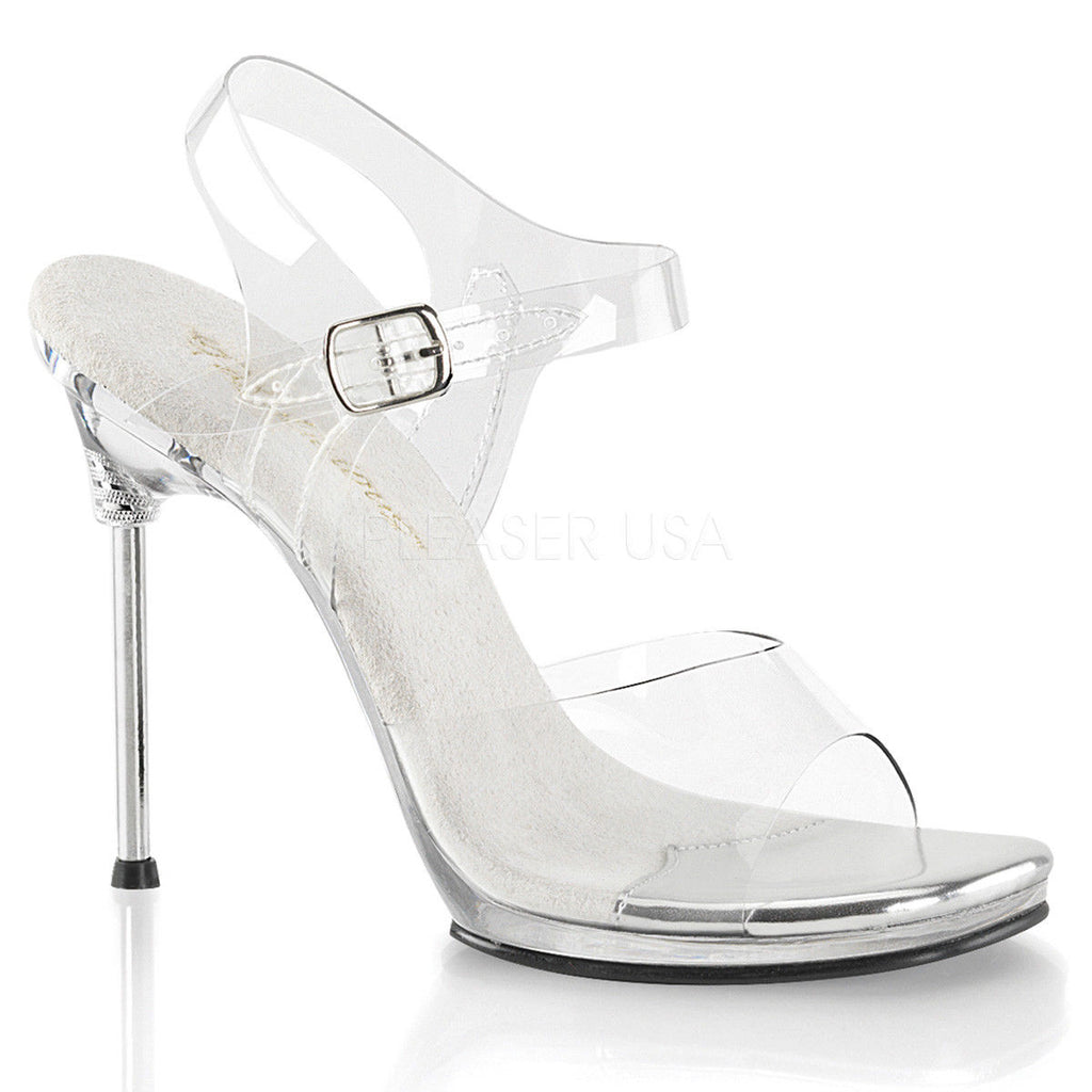 "FABULICIOUS Chic-08 Clear Fitness Bikini Model Comp Pole Dance Straps 4.5"" Heels - A Shoe Addiction"