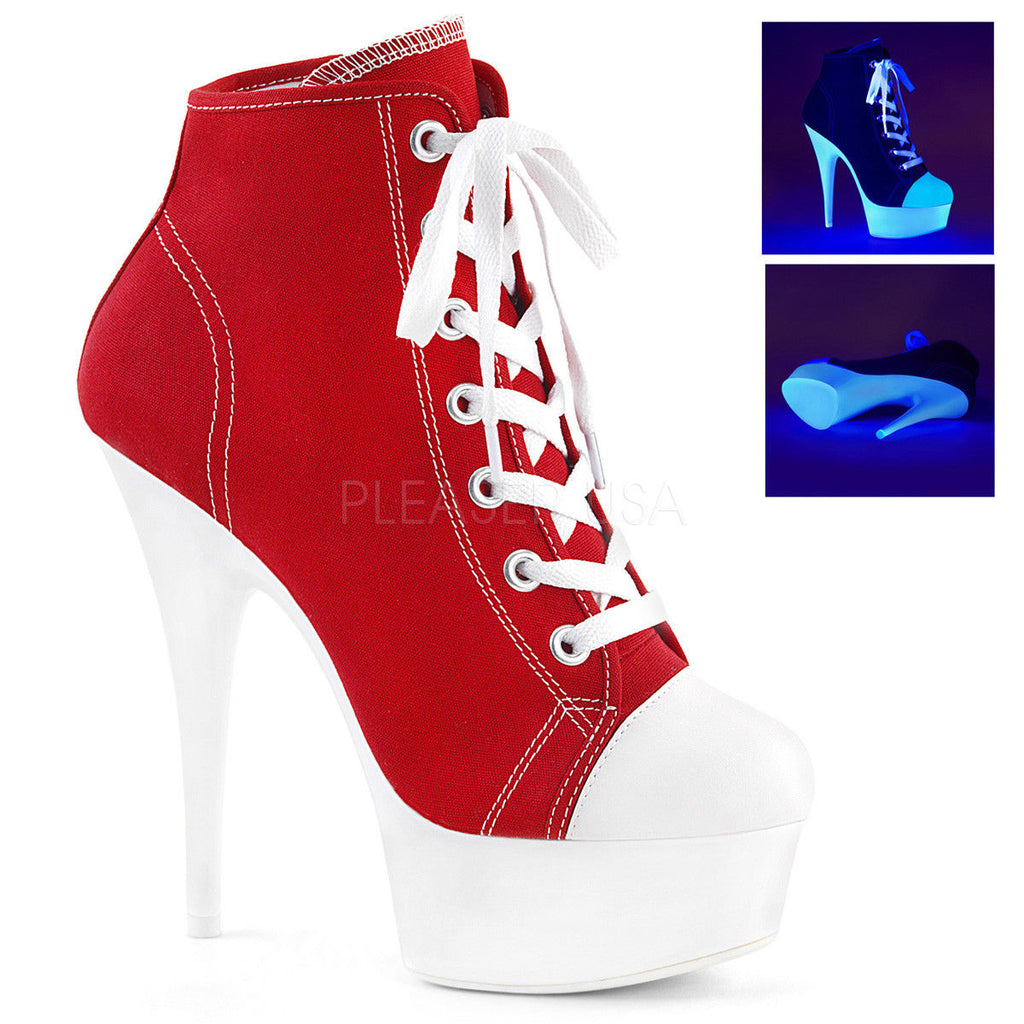 PLEASER Delight-600SK-02 Black Pink Red White Canvas Platform Sneaker Boot Heels