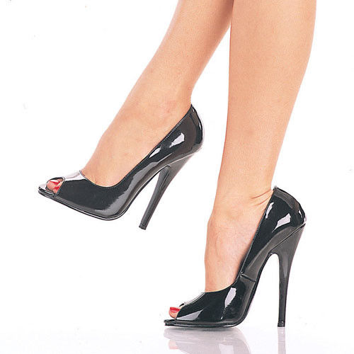 "DEVIOUS Domina-212 Black Fetish Drag Open Peep Toe Pumps 6"" Heels Women's 4-15 - A Shoe Addiction"