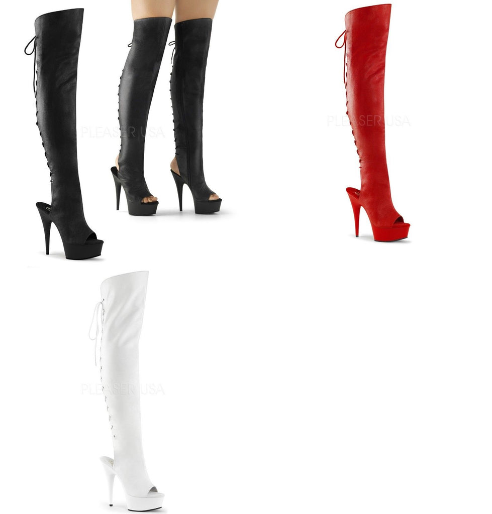 PLEASER Delight-3019 Black Red White Open Toe Heel Lace Up Back Zip Thigh Boots - A Shoe Addiction