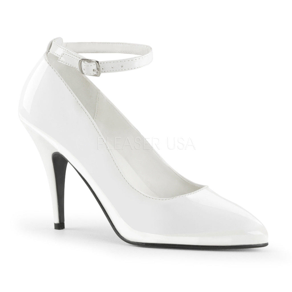 IN STOCK / SALE - PLEASER Vanity-431 White Ankle Strap Pump Work Heels AU Size 6 - A Shoe Addiction