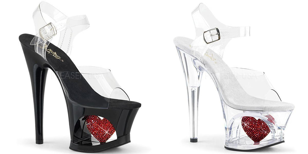 "PLEASER Moon-708HRS Clear Red Rhinestone Heart Stripper Club Platforms 7"" Heels - A Shoe Addiction"
