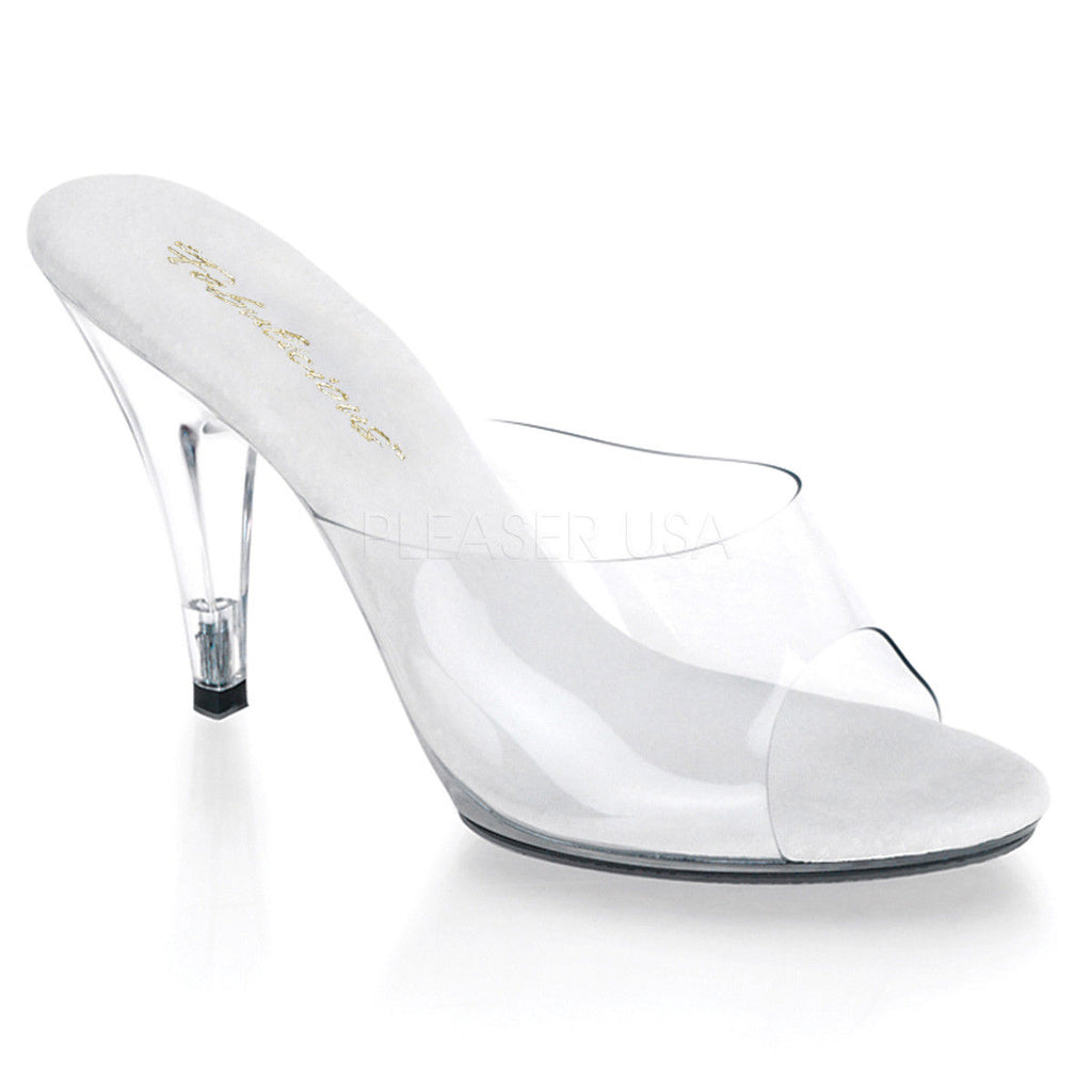 "FABULICIOUS Caress-401 Clear Fitness Bikini Competition Sandals Slides 4"" Heels - A Shoe Addiction"