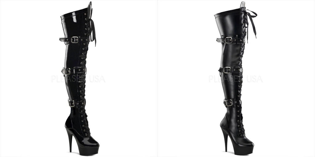 PLEASER Delight-3028 Black Stripper Exotic Dancer Showgirl Club Sexy Thigh Boots - A Shoe Addiction