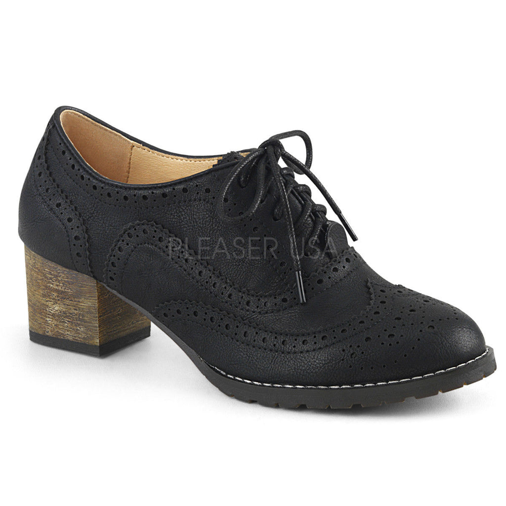 "PINUP COUTURE Russell-34 Wingtip Oxfords Brogue Detail 2"" Heels Shoes - A Shoe Addiction"