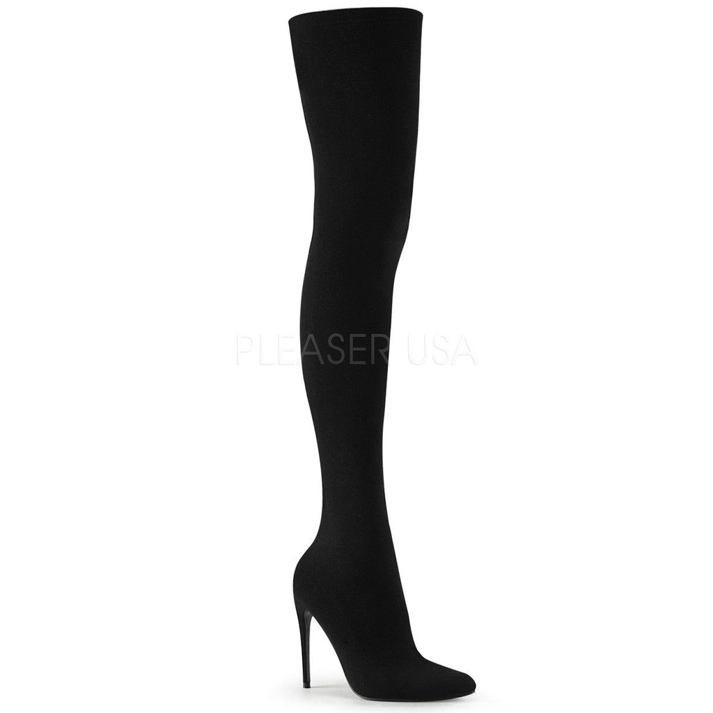 "PLEASER Courtly-3005 Sexy Black Nylon Stretch Pull On 5"" Heels Thigh High Boots"