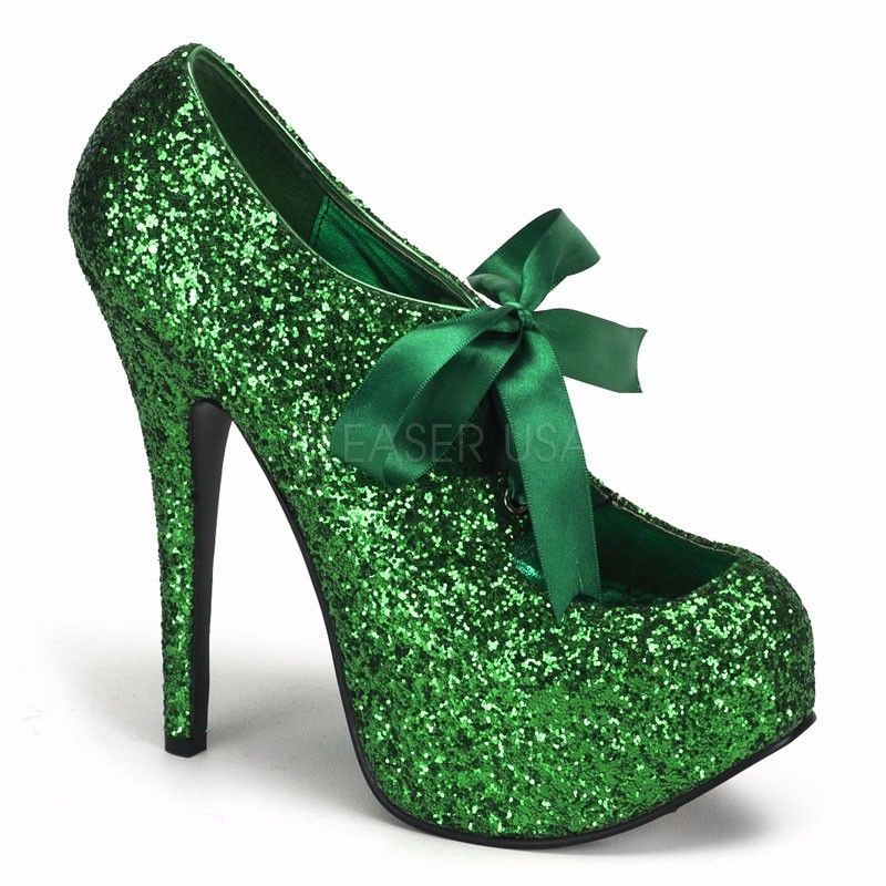 Discontinued BORDELLO Teeze-10G Glitter Pinup Burlesque Showgirl Platform Heels - A Shoe Addiction