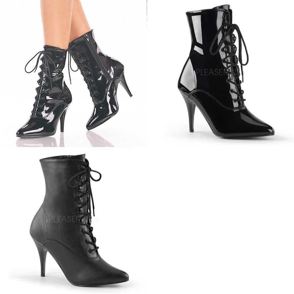 "PLEASER Vanity-1020 Lace Up Ankle Boots 4"" Heel Drag Trans Womens Plus Size 5-15 - A Shoe Addiction"