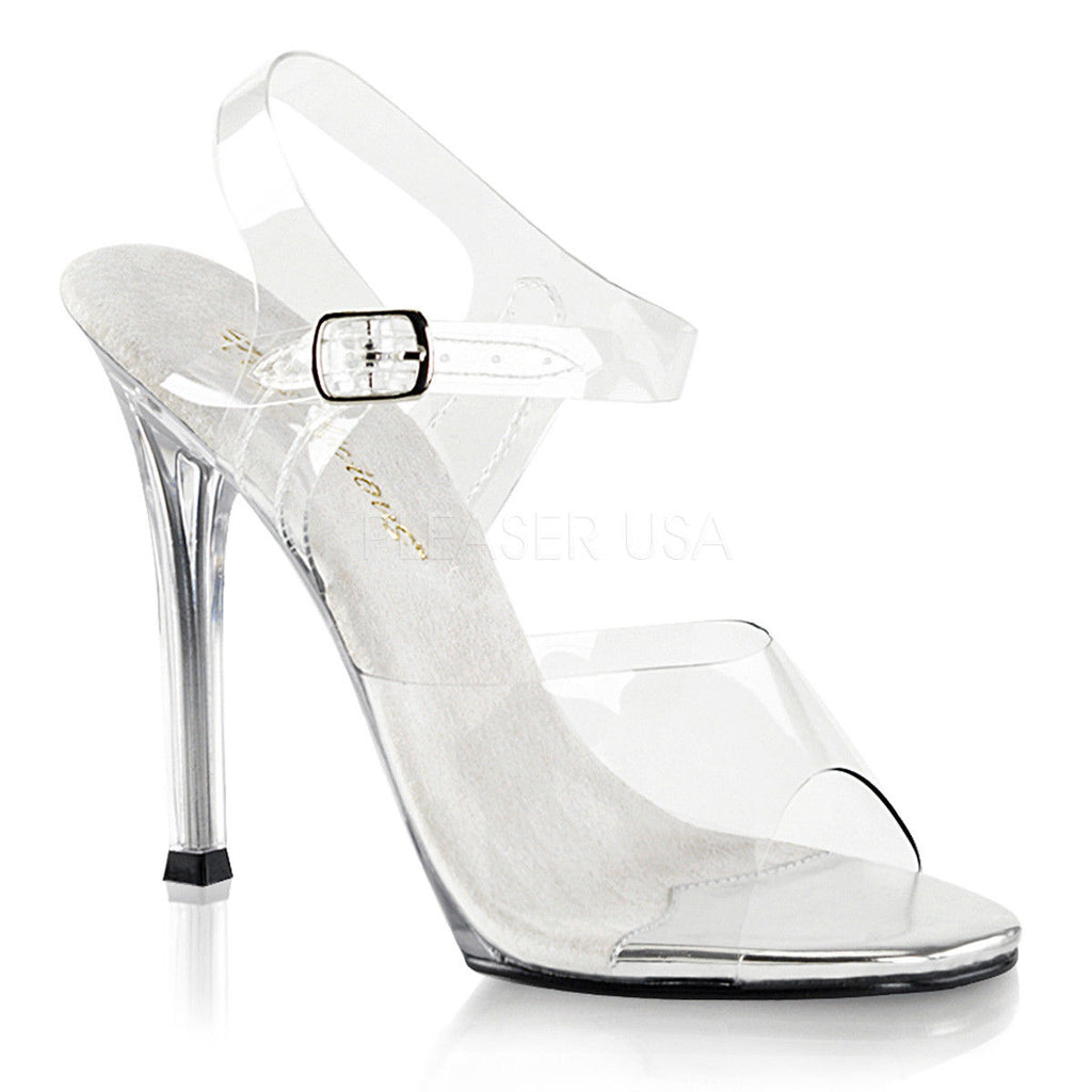 "FABULICIOUS Gala-08 Clear Fitness Bikini Model Comp Dress Ankle Strap 4.5"" Heel"