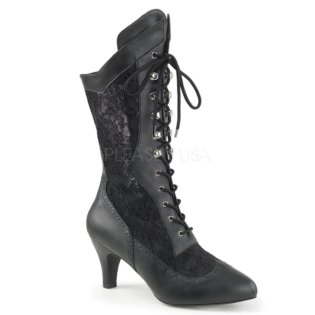 PLEASER PINK LABEL Divine-1050 Satin Lace Goth WIDE WIDTH Boots Drag Womens 8-15 - A Shoe Addiction