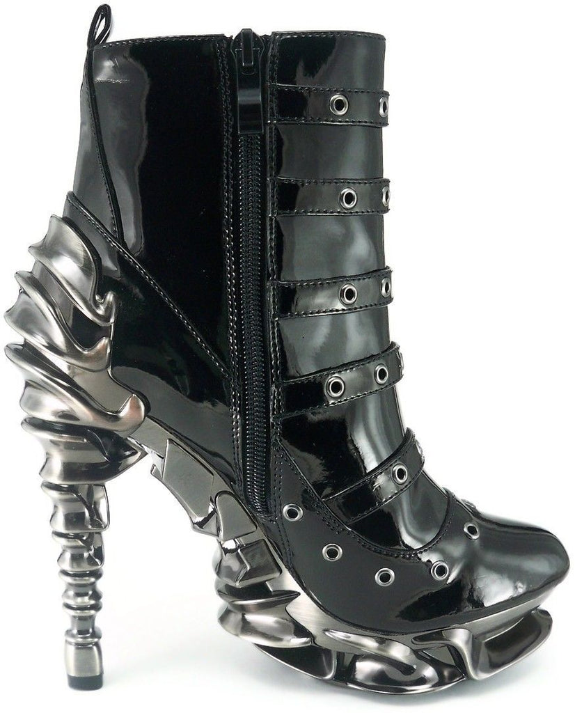 HADES MACHINA Black Patent Steampunk Goth Apocalyptic Metal Chrome Heels Boots