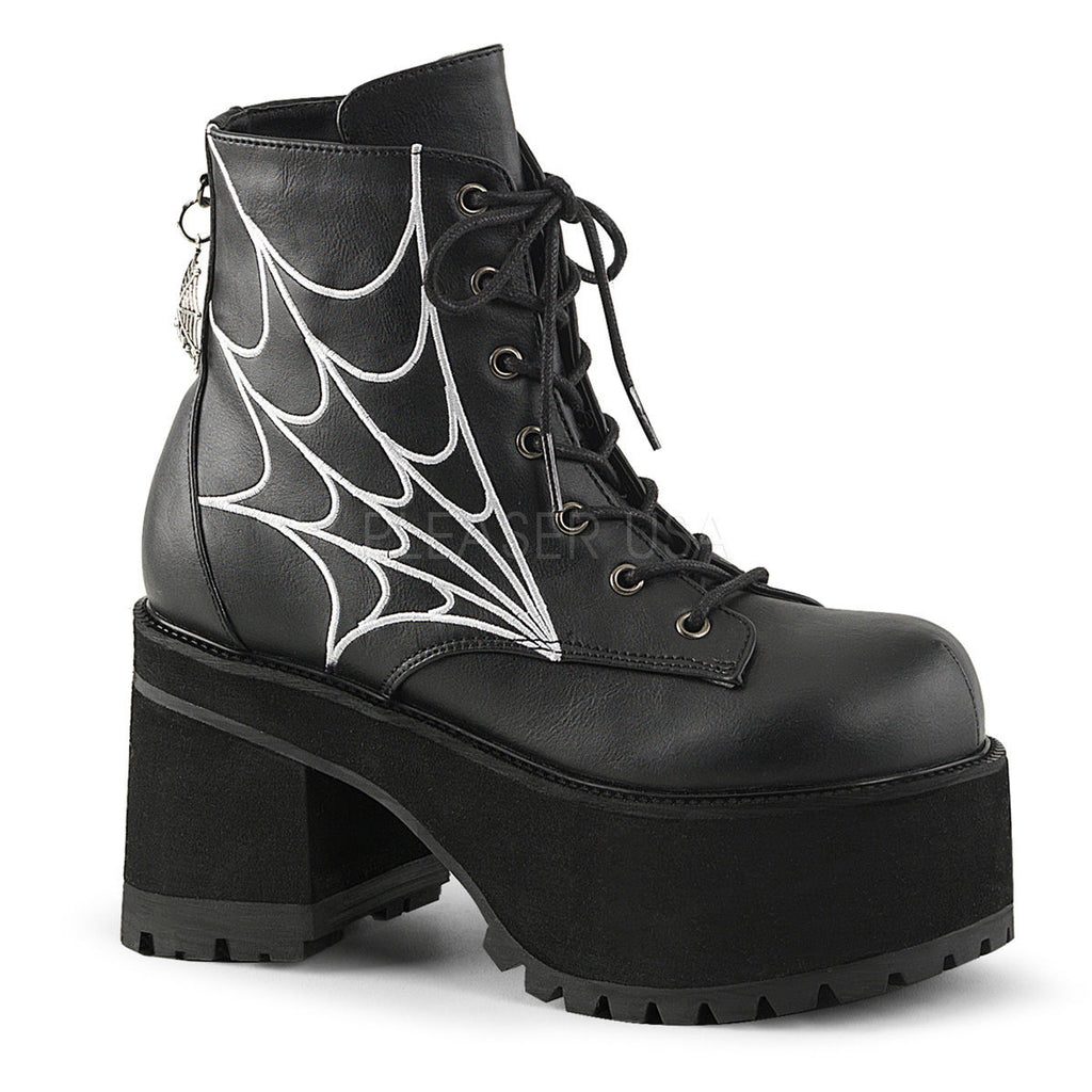 DEMONIA Ranger-105 Embroidered Spider Web Charm Goth Anke Calf Platforms Boots - A Shoe Addiction