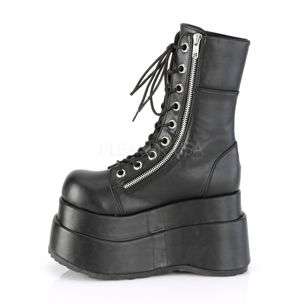 "DEMONIA Bear-265 Black Blue Lace Up Zipper Tiered 4.5"" Platform Goth Calf Boots - A Shoe Addiction"