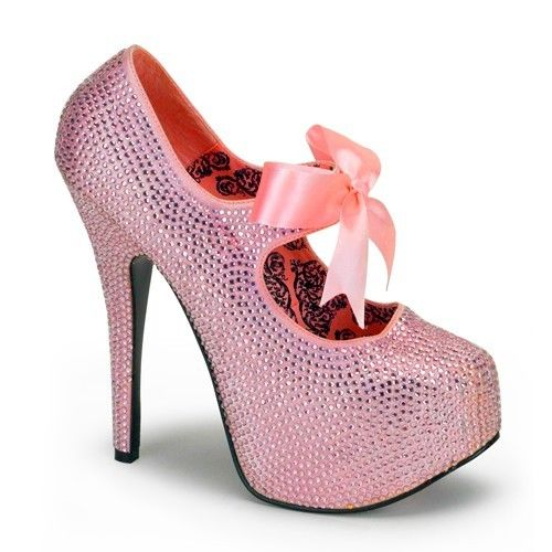 Discontinued BORDELLO Teeze-04R Pink Red Gold Silver Rhinestone Burlesque Heels - A Shoe Addiction