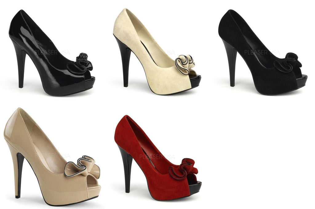 Discontinued FABULICIOUS Lolita-10 Black Cream Red Suede Work Party Heels Pumps - A Shoe Addiction