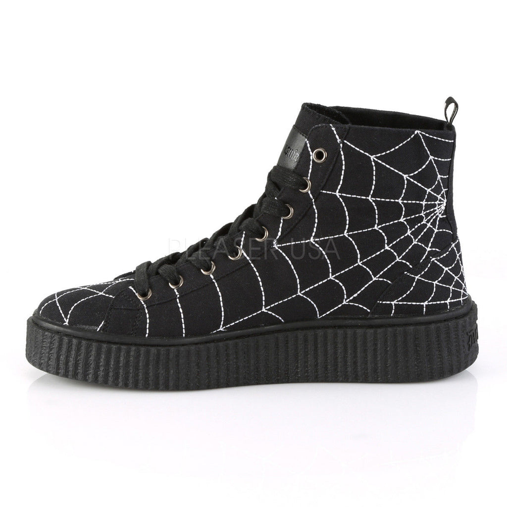 DEMONIA Sneeker-250 Men's Mens Unisex Goth Spider Web High Top Creeper Sneakers - A Shoe Addiction