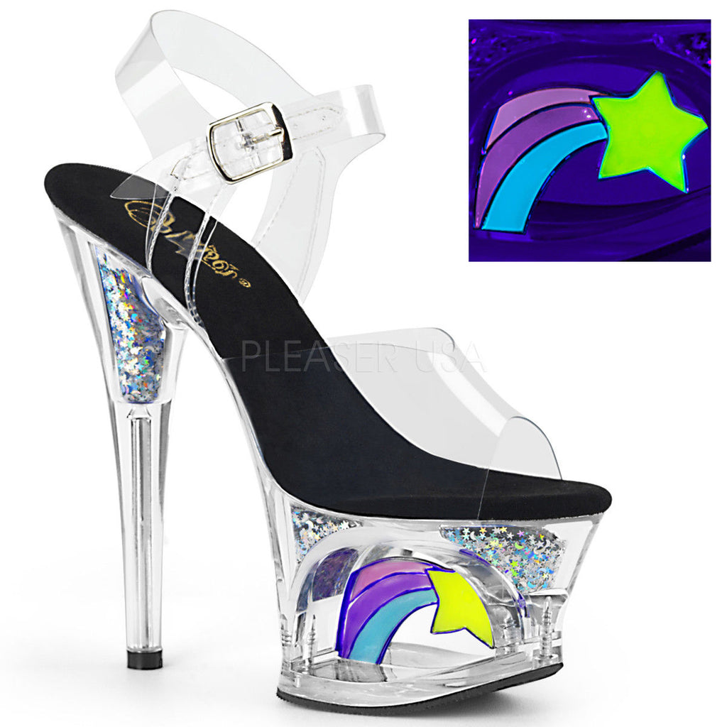 "PLEASER Moon-708RSS Stripper Pole Blacklight Reactive Shooting Star 7"" Heels"