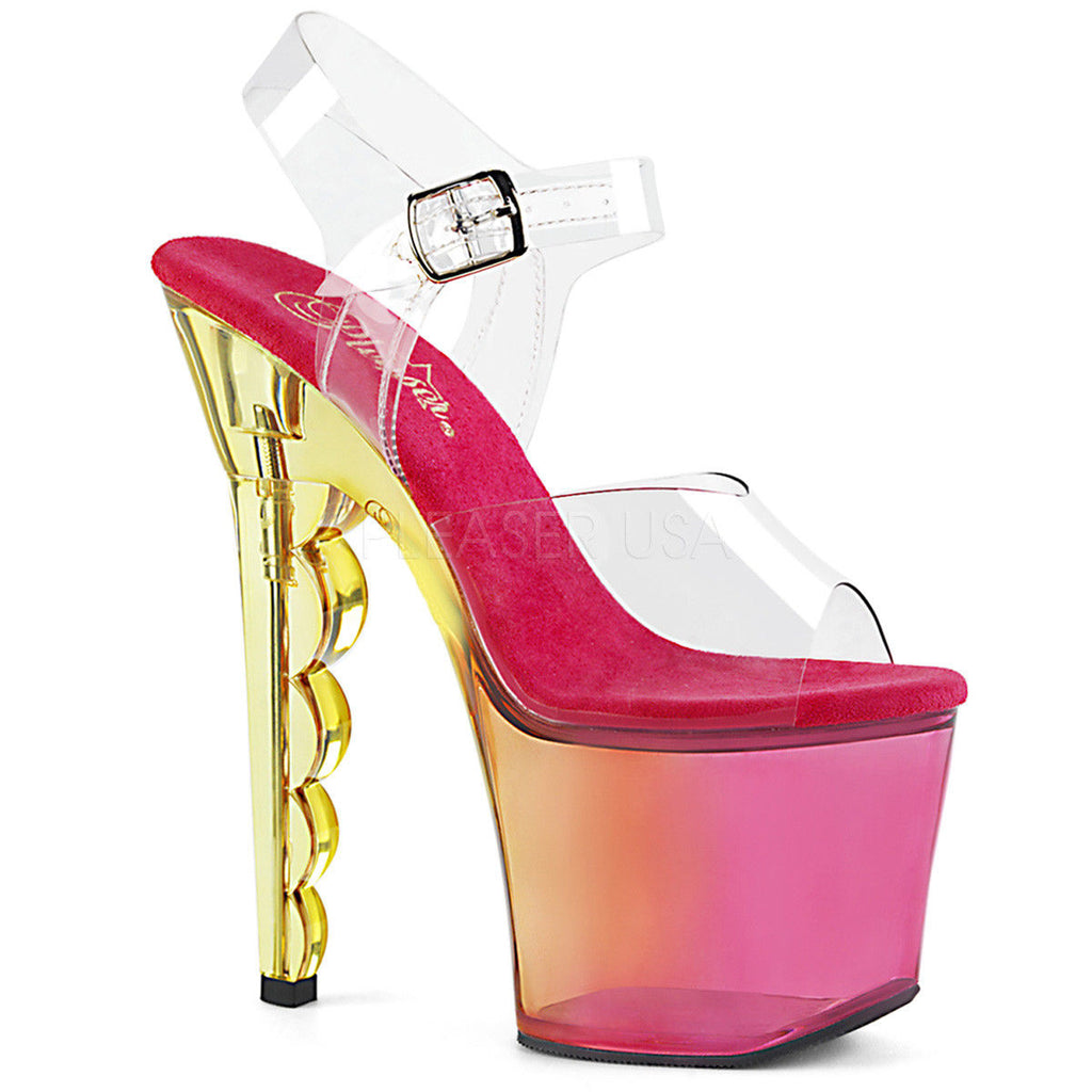 "Discontinued PLEASER Scallop-708MCT Tinted Ombre Stripper Pole Platforms 7"" Scalloped Heels"
