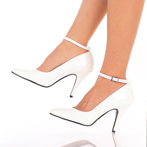 IN STOCK / SALE - PLEASER Vanity-431 White Ankle Strap Pump Work Heels AU Size 6