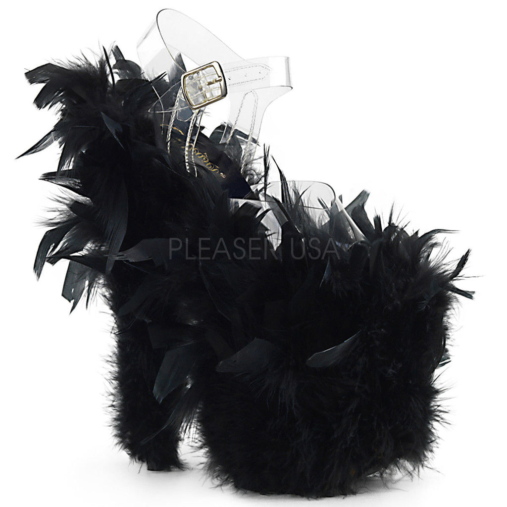 "Discontinued PLEASER Flamingo-808F Marabou Feathers Blacklight Reactive Stripper Club 8"" Heel"