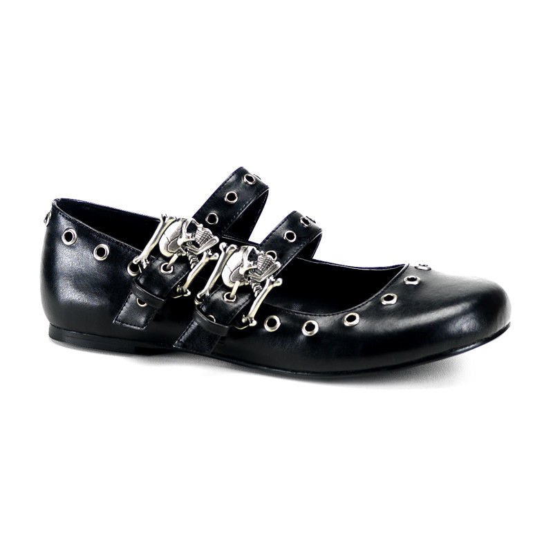DEMONIA Daisy-03 Black Goth Punk Skull Buckles Vegan Steampunk Ballet Flats - A Shoe Addiction