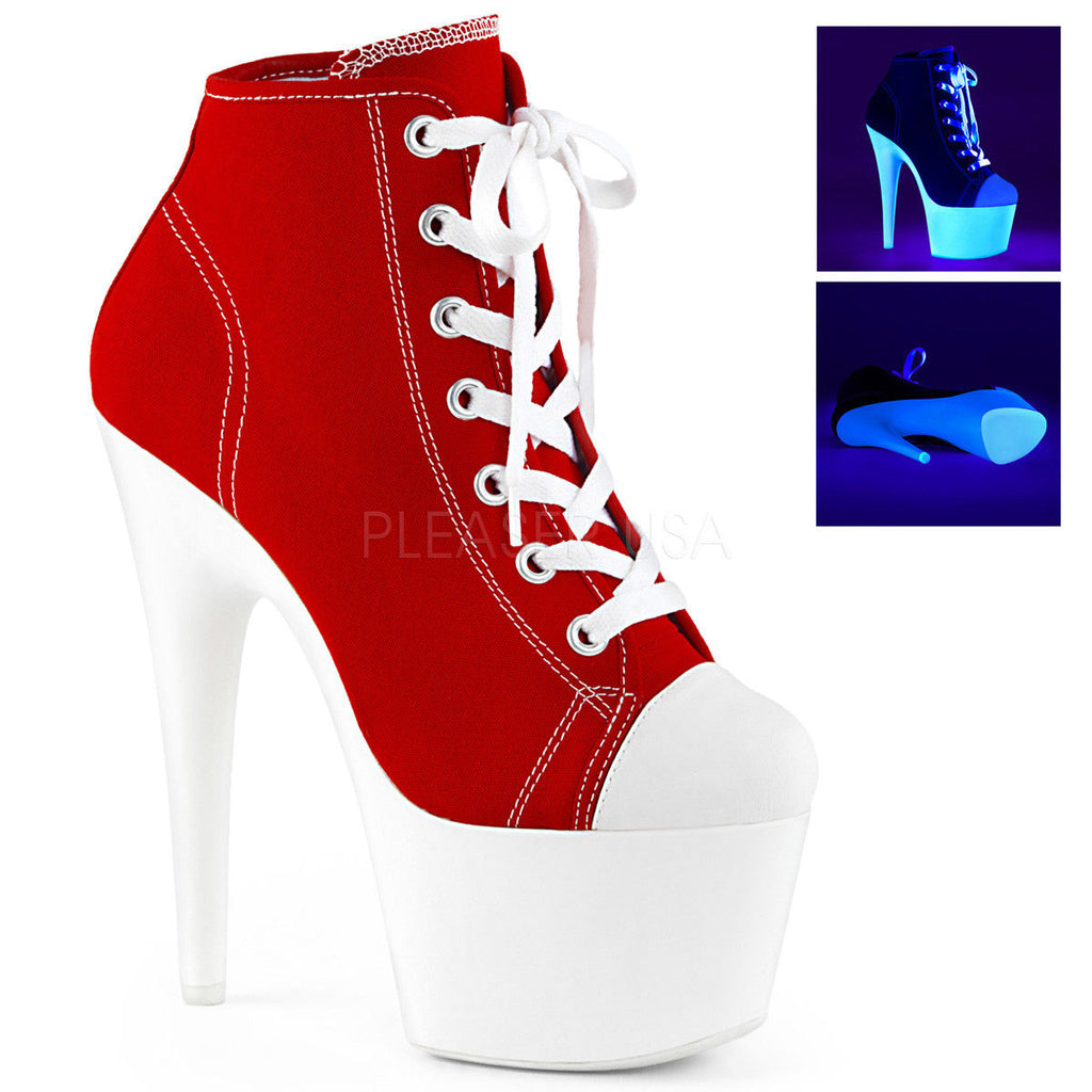 "PLEASER Adore-700SK-02 Black Red Neon White Canvas Platform Sneaker Boot 7"" Heel - A Shoe Addiction"
