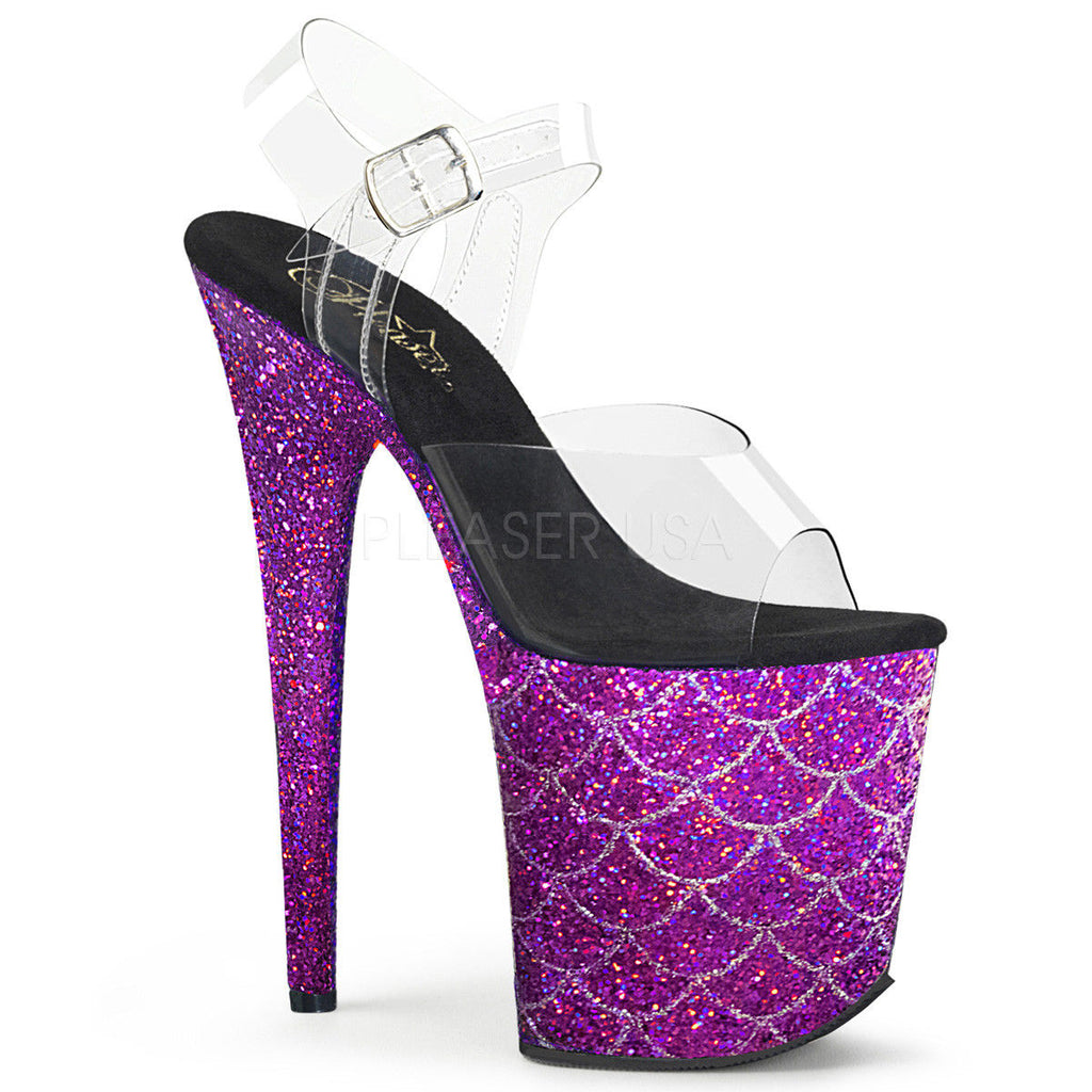 "Discontinued PLEASER Flamingo-808MSLG Purple Black Glitter Mermaid Scale Pole Dancing 8"" Heel - A Shoe Addiction"