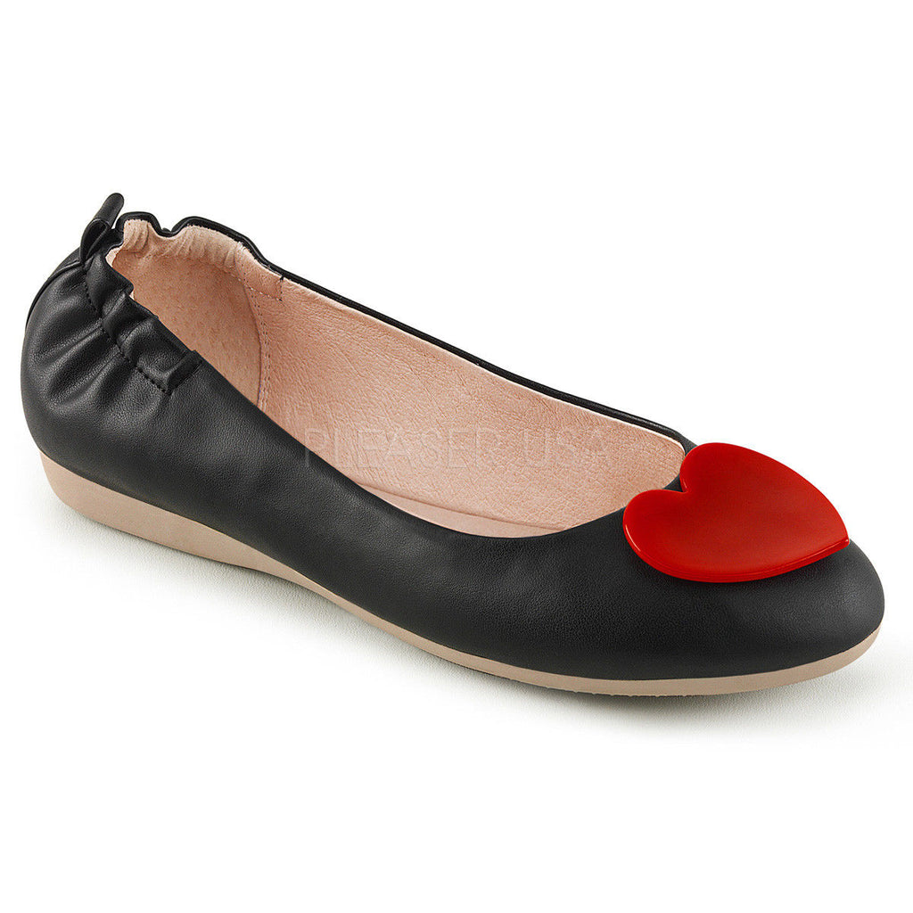 Discontinued PINUP COUTURE Olive-05 Black Cream Heart Elasticated Foldable Flats - A Shoe Addiction