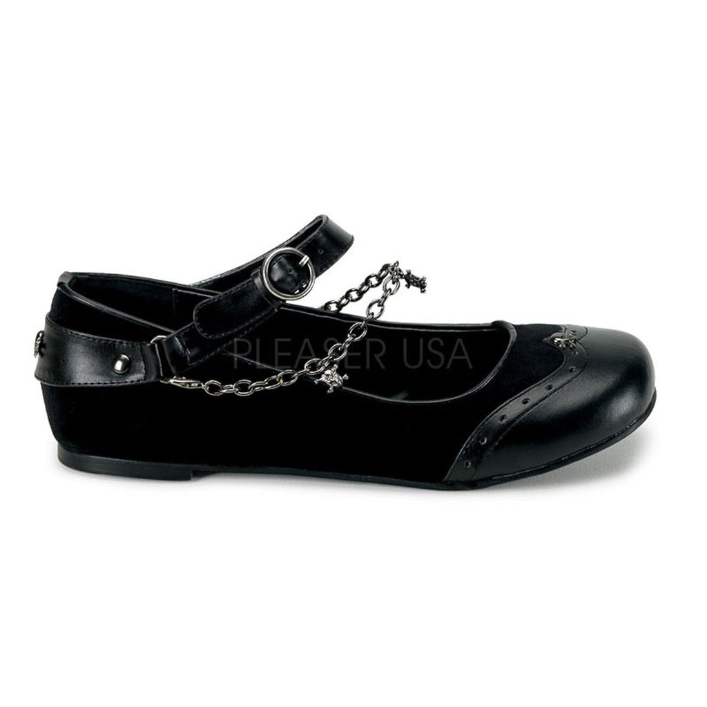 DEMONIA Daisy-07 Black Goth Punk Skull Chains Vegan Leather Velvet Ballet Flats - A Shoe Addiction